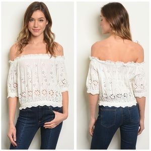 Tops - 5 for $100 Off The Shoulder Ruffled  Eyelet Top